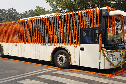 Electric bus charging project in Delhi, India